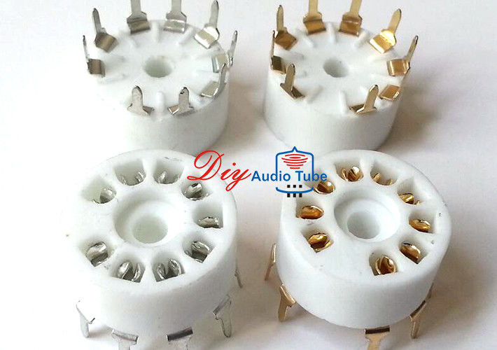 Gold plated 9Pin ceramic Vacuum tube Socket PCB Mount for 12AT7/ECC81 12AU7/ECC82 12AX7/ECC83 6DJ8 EL84